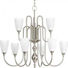 Progress P4236-09 - Nine-light, two-tier chandelier finished in brushed nickel with etched glass.