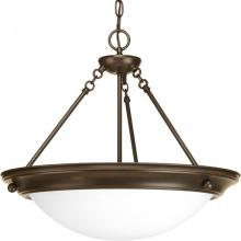 Progress P7322-20WB - Three Light Antique Bronze Satin White Glass Bowl Semi-Flush Mount