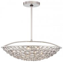 Minka Metropolitan n6757-613 - Five Light Polished Nickel Clear Crystal Accents Glass Up Pendant